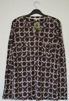 NEW EX WHITE STUFF UK SIZE 10 - 18  DARK PURPLE PLUM LINEN JERSEY BLOUSE TOP