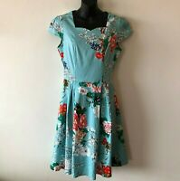 Zaful Fit & Flare Oriental Floral Dress Swing Party Pinup Women's S Small New