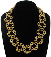 Vintage Necklace Big Chunky Yellow Gold Tone Chain Ring Link Collar 22""