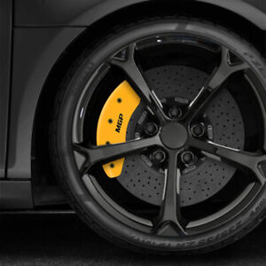 Front and Rear Yellow MGP Caliper Covers for 2020-2021 Kia Soul