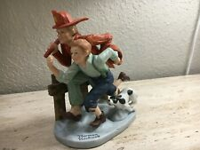 """Danbury Mint The 12 Norman Rockwell """"The Alarm"""" Firefighter Figurine Le 1980"""