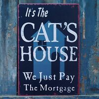 CAT'S HOUSE Vintage Metal Tin Signs Art Wall Poster Home Decor