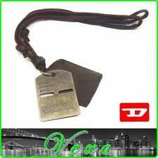 Diesel MILITAR Para hombres Collar y Colgante Etiqueta de Perro de Cuero Tanga surfista Ejército ND10