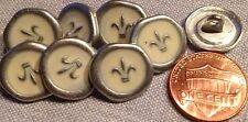 """8 Silver Tone Metal Cream Enamel Fleur De Lis Buttons Almost 5/8"""" 15mm # 8003"""