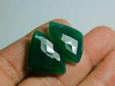 Front To Back Drilled Green Onyx Checkerboard Fancy Triangular Briolette 25x17MM