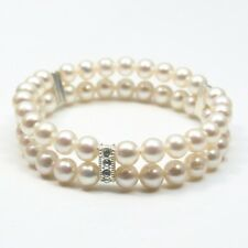 2 Rows AAA 7-8mm white Natural Fresh water Pearl Bracelets bangle 7.5""