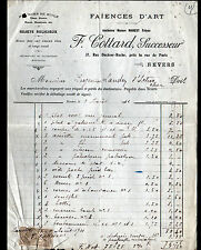 "NEVERS (58) USINE de FAIENCES / FAIENCERIE D'ART ""MAREST / F. COTTARD Succ"" 1911"