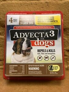 Advecta 3 for Dogs, X-Large Dogs 55 lbs.+, Repels/Kills 4 Month Supply BRAND NEW