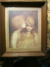 Vtg Home Interiors Young Boy Kissing Girl framed picture A Little Kiss Marg Kane