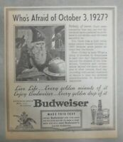 Budweiser Beer Ad: Whose Afraid of Oct. 3. 1927 ? ! from 1938 Size: 8 x 9 inches