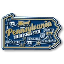 Pennsylvania the Keystone State Deluxe Map Fridge Magnet