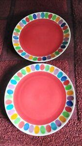 2x Whittard Chelsea Serving / Dinner Plates 27cm Oval Spots Multicoloured & Red