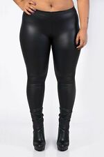 BLACK WET LOOK FAUX LEATHER PANTS L/XL NEW PARTY CASUAL CLUBBING WEDDING