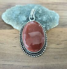 925 Silver Oxidised Plated Pendant Jewellery Goldstone 35mm Height  PEN-112-2020