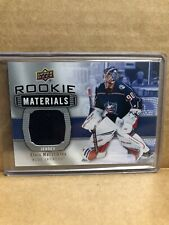 19/20 Elvis Merzlikins Rookie Materials Jersey Upper deck Columbus Blue Jackets