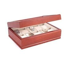 American Chest COMMANDER Ten Watch Glass Top Storage Box Case Solid Cherry Wood