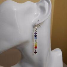 7 Chakra Yoga Meditation Beads Long Drop Dangle Earrings Silver Tone