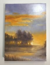 Original oil painting Sunset Landscape tree western fine art listed by artist US