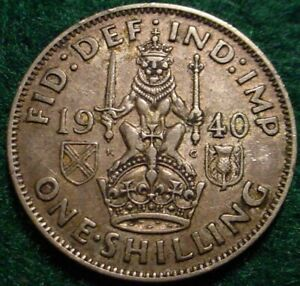 1940 SILVER 1 SHILLING GREAT BRITAIN**NICE COIN**
