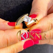 14K YELLOW GOLD PRINCESS DIAMOND ENGAGEMENT RING TENSION SET BRIDAL WEDDING 0.75