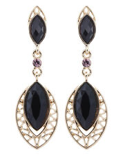 CLIP ON EARRINGS - gold plated Aztec drop earring with black crystals - Velma