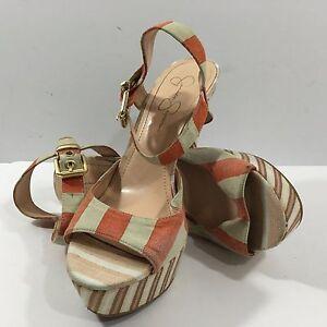 Jessica Simpson Sundown Yacht Stripe Papaya Platform Pump Sandals (10B / 40)