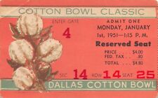 1951 Cotton Bowl Classic Ticket Stub Tennessee Vs. Texas NCAA Football Dallas