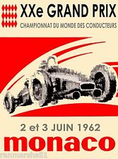 1962 Monaco Grand Prix Automobile Race Car Advertisement Vintage Poster