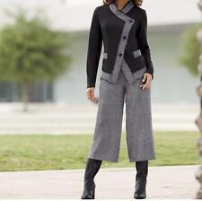 Women's Office Business Church Party Tweed Gaucho 2PC pant Set suit plus 20W 2X