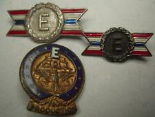 "WW2 3 Different ""E"" Production Award Pins - PB"