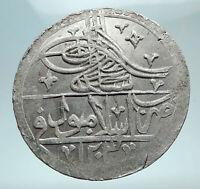 1789-1807 AD TURKEY Sultan Selim III Ottoman Empire Silver Yuzluk Coin i80877
