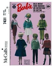 Vintage McCall's Barbie Doll Clothes Fabric Sew Knit Pattern #7431
