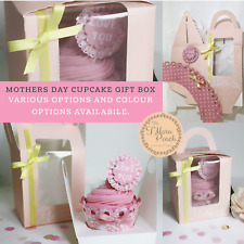 CUPCAKE GIFT BOX Personalised MOTHERS DAY Birthday CASE ROSETTE BUNTING Wedding