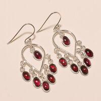 5.70 Gm 925 Solid Sterling Silver Earring Natural Garnet Earrings Gemstone i-796