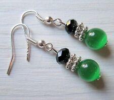 Ohrringe Ohrhänger Perlen grün schwarz Schmuck Statement Boho handgefertigt neu