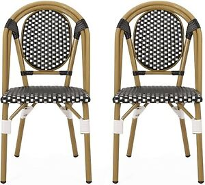 Christopher Knight Home Set of 2 French Bistro Chairs Black Rattan Style 313247