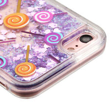 For iPhone 7 Cute Lollicup Pink Hearts Purple Glitter Sparkle Liquid Water Case