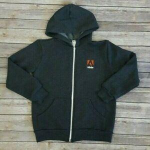 ADOBE American Apparel Kids Boy Girl Size 8 Zip Up Hoodie Jacket Dark Gray