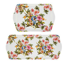 Set Of 2 Vintage Lily Rose Melamine Serving Trays Floral Design Rectangular Tray