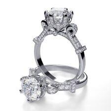 New 2.60 Ct Round Cut Diamond Pave Cinderella Engagement Ring G,SI1 GIA Platinum