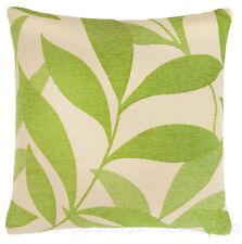 Lime Green  & Cream Leaf Design Chenille 18 inch Cushion Cover