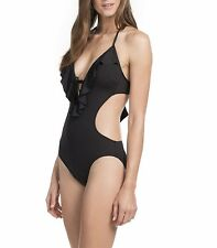 Kenneth Cole One Piece Sz S Black Swimsuit Halter Solid Ruffled Monokini RS5LB11
