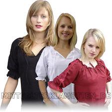 BLUSE leichte Baumwolle kurzärmelig Mittelalterbluse Damen Frauen kurzer Arm