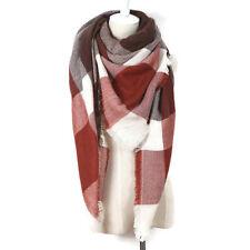 Plaid Blanket Scarf Tartan Plaid Scarf Dark Red Brown Blanket Scarf