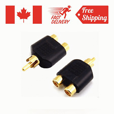 Male To 2 Female RCA AV Y Splitter Adapter Connector for Audio Cable Gold Plated