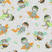 Monkey Business Toss Grey Green Orange 100% cotton fabric by the yard