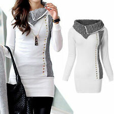 Women Cowl Neck Knitted Jumper Pullover Sweater Long Sleeve Slim Knitwear Shirt
