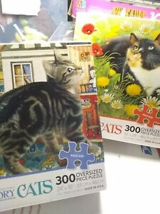 Two used  300 Piece Cats Puzzle Lesley Anne Ivory's Cats free shipping complete