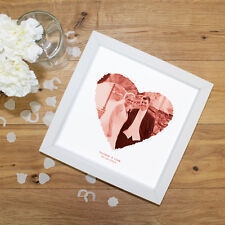 Personalised Gift for First Anniversary Wedding   YOUR PHOTOGRAPH HEART + TEXT