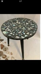 Epoxt resin Energy Rocks Table - shells table - clear center table/ side table